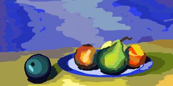 Натюрморт с грушами и персиками
