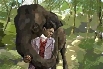 Паспарту прощается со слоном  вокруг света за 80 дней