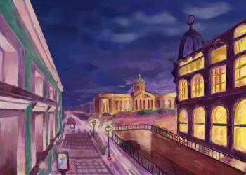 Городской пейзаж Санкт-Петербурга в стиле импрессионизма